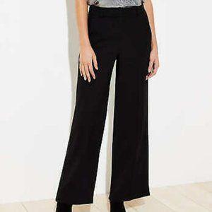 Loft Black Linen Wide Leg Side Zip Pants